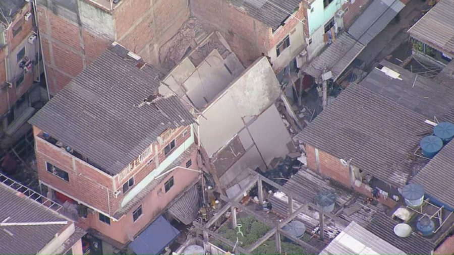 Prédio desabou nessa madrugada. Foto: Reprodução/Rede Globo