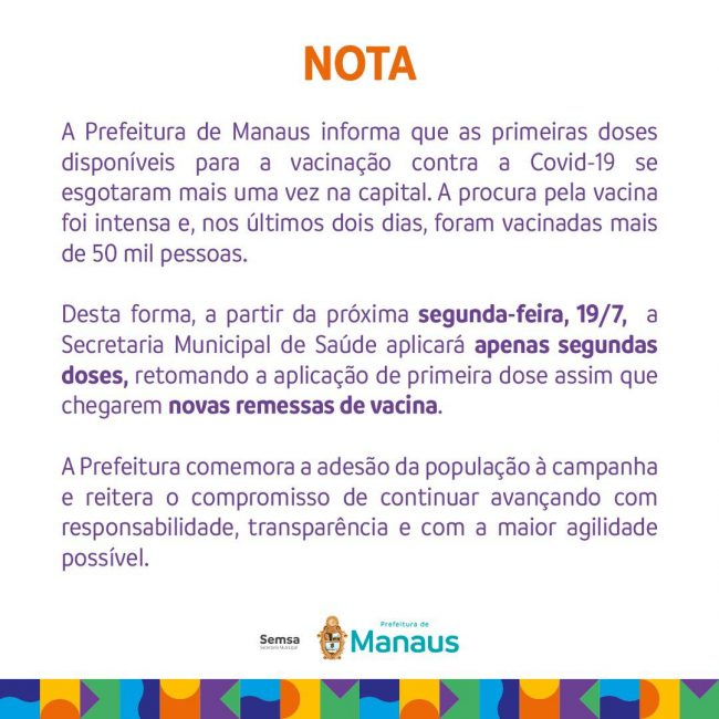 Manaus Vacinação SEMSA Covid-19
