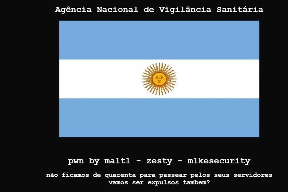 Anvisa Ataque virtual Argentina