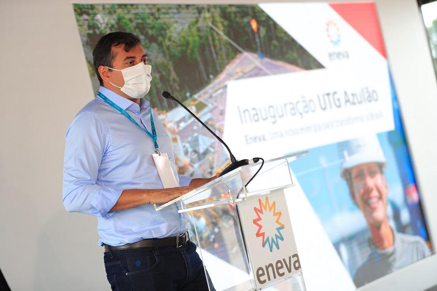 Governador Wilson Lima na inauguração de térmica da Eneva no campo de Azulão
